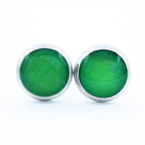 Small Jade Green and Silver Framed Stud Earrings
