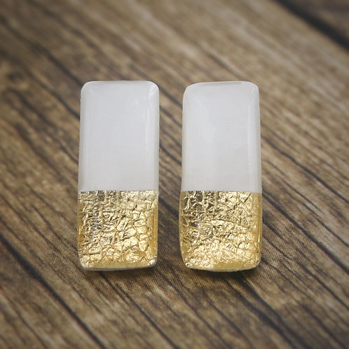 White and Gold Bar Studs