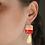 Thumbnail: Red, Peach & Gold Dangle Earrings