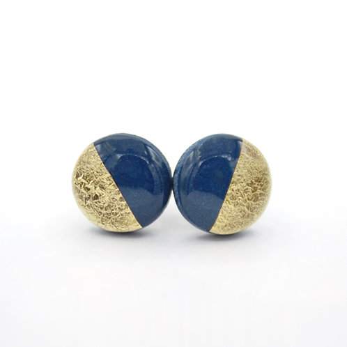 Navy Blue and Gold Circle Studs