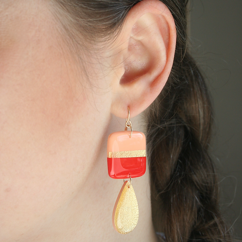 Red, Peach & Gold Dangle Earrings