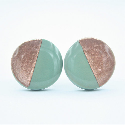 Sage Green and Rose Gold Stud Earrings