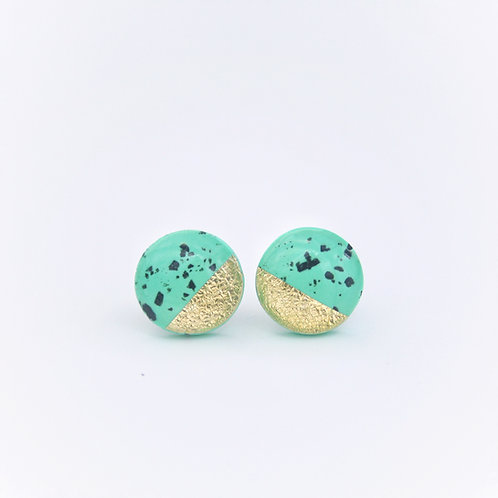 Speckled Mint and Gold Foil Studs