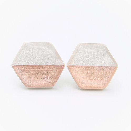 Rose Gold Earrings, White and Rose Gold Earrings, Hexagon Earrings, Polymer Clay Earrings