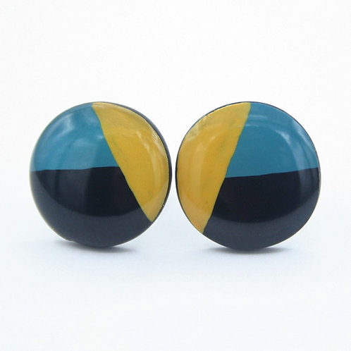 Geometric Teal, Yellow, and Black Stud Earrings