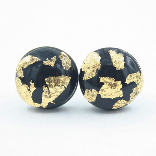 Dainty Black and Gold Flake Stud Earrings