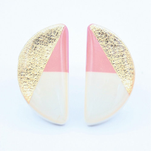 White, Pink, and Gold Semicircle Stud Earrings