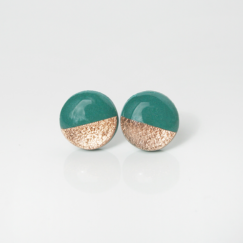 Copper and Teal Circle Stud Earrings