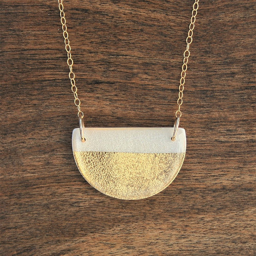 White and 14k Gold Half Moon Pendant Necklace