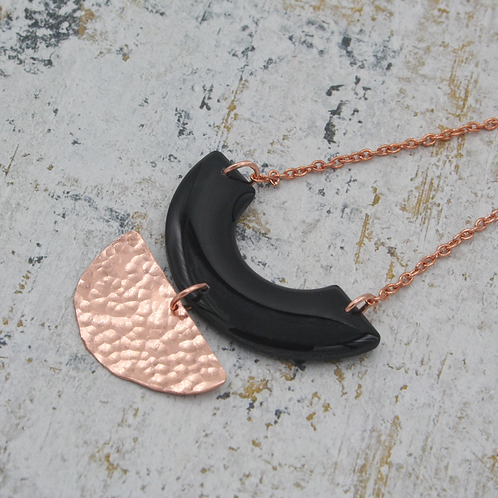 Hammered Copper and Black Geometric Pendant Necklace
