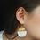 Thumbnail: Gold and Pearl Half Circle Earrings