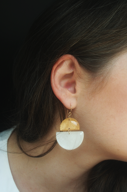 Gold and Pearl Half Circle Earrings