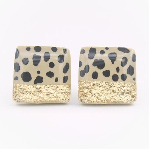 Polka Dot Earrings, Dalmatian Puppy Earrings, White and Black Earrings, Black and White Earrings