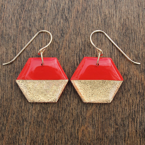 Red and 14k Gold Hexagon Dangle Earrings