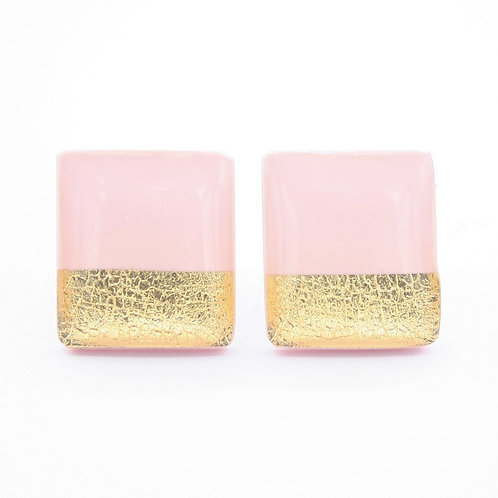 Pink and Gold Square Stud Earrings