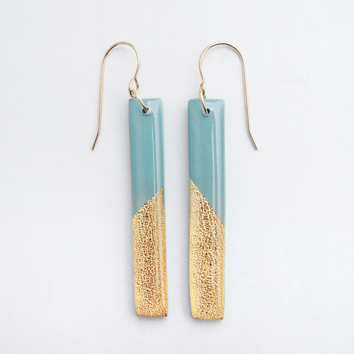 Steel Blue and Gold Bar Dangle Earrings