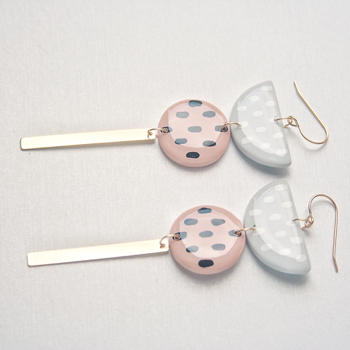 Pink and Gray Polkadot Dangle Earrings