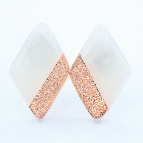 White and Copper Diamond Shaped Stud Earrings