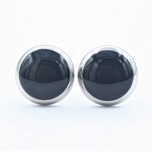 Small Black and Silver Framed Stud Earrings