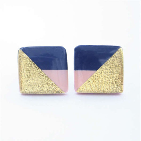 Geometric Navy Blue, Pink, and Gold Square Stud Earrings