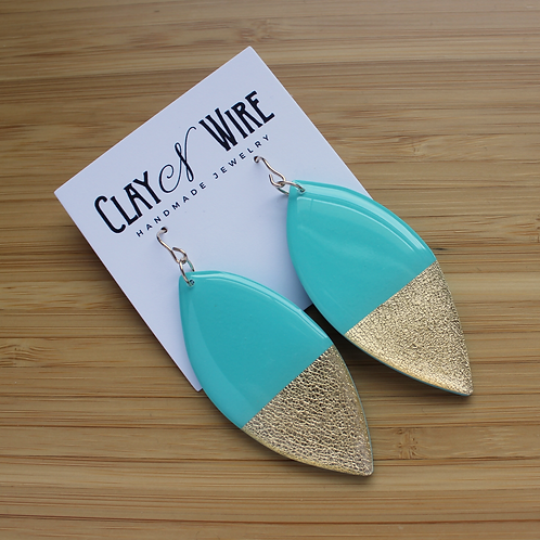 Turquoise & Gold Statement Earrings