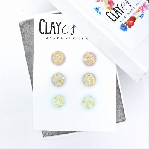 Set of 3 Pastel Stud Earrings with Gold Flake Accents