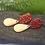 Thumbnail: Burnt Orange Polkadot Gold Drop Earrings