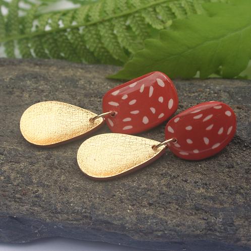 Burnt Orange Polkadot Gold Drop Earrings