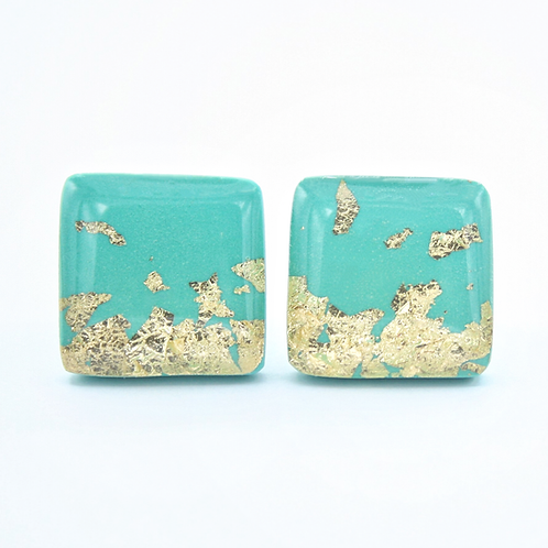 Turquoise Blue and Gold Flake Square Stud Earrings
