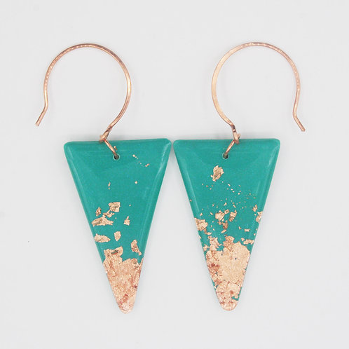 Green and Copper Triangle Earrings
