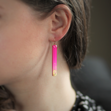 Pink and Gold Matchstick Earrings