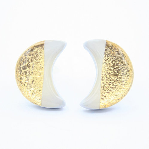 Light Gray and Gold Moon Stud Earrings