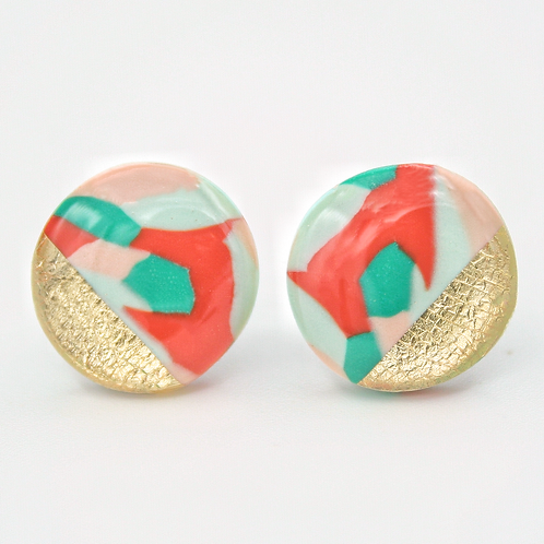 Multicolor Stud Earrings, Maximalist Earrings, Maximalist Jewelry, Polymer Clay Earrings