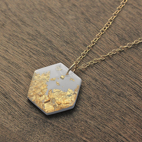 White and 14k Gold Flake Hexagon Pendant Necklace