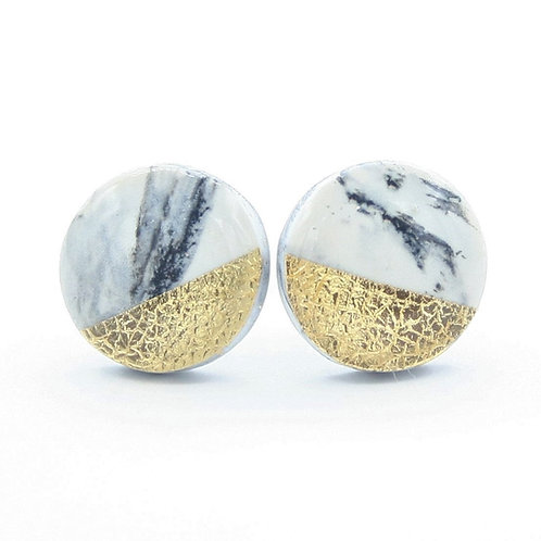 White Marble and Gold Stud Earrings