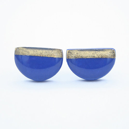 Cobalt Blue and Gold Semicircle Stud Earrings