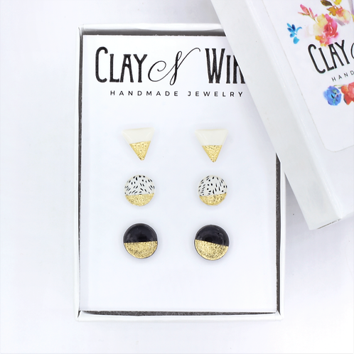 Set of 3 Black and White Stud Earrings with Gold Accent