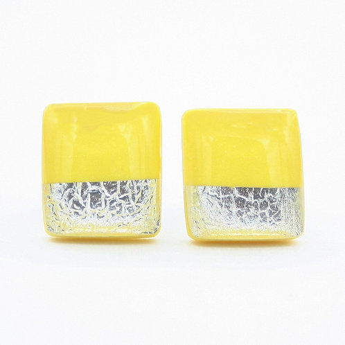 Yellow and Silver Stud Earrings