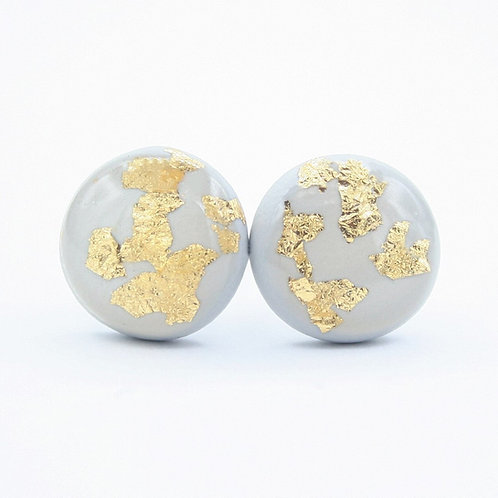 Dainty Light Gray and Gold Flake Stud Earrings