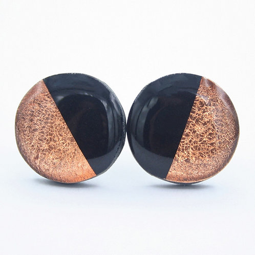 Black and Copper Stud Earrings