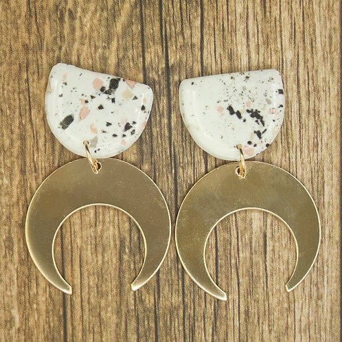 Terrazzo Gold Moon Earrings