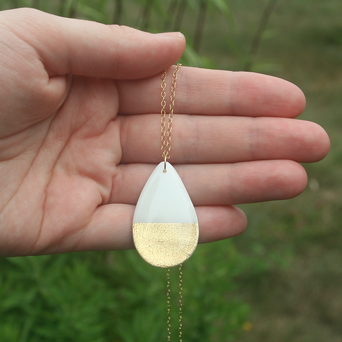 White and Gold Drop Necklace
