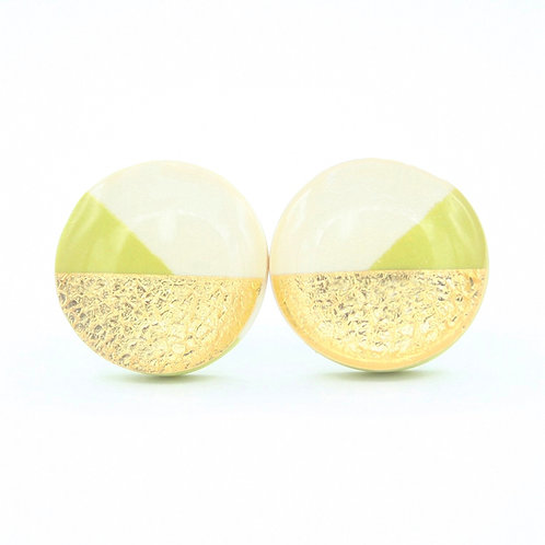 Geometric White, Gold, and Chartreuse Green Stud Earrings
