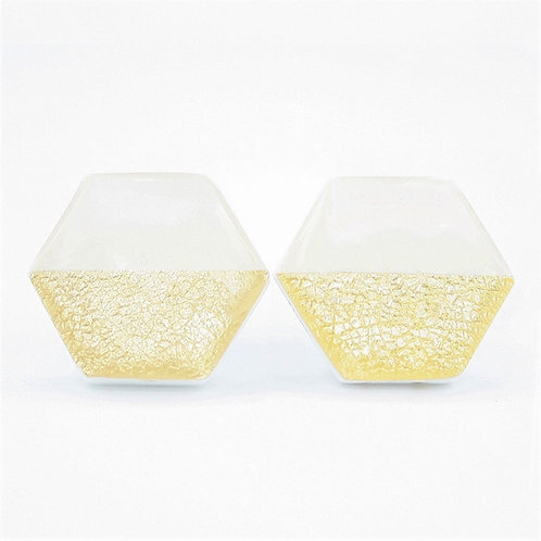 White and gold stud earrings, hexagon studs