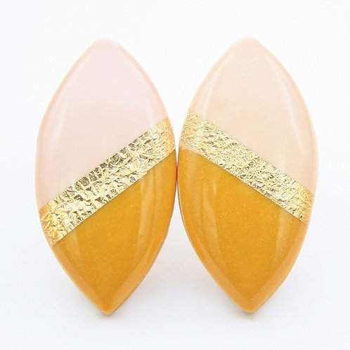Mustard Yellow, Pink, and Gold Marquise Stud Earrings