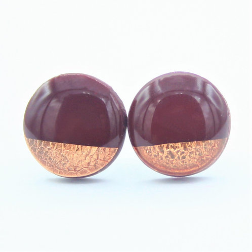Maroon Red and Copper Stud Earrings