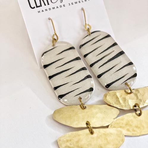 Pearl & Brass Zebra Stripe Earrings