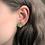 Green and gold heart stud earrings, titanium earrings, hypoallergenic studs