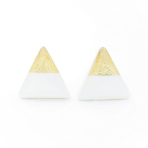 White and Gold Triangle Stud Earrings