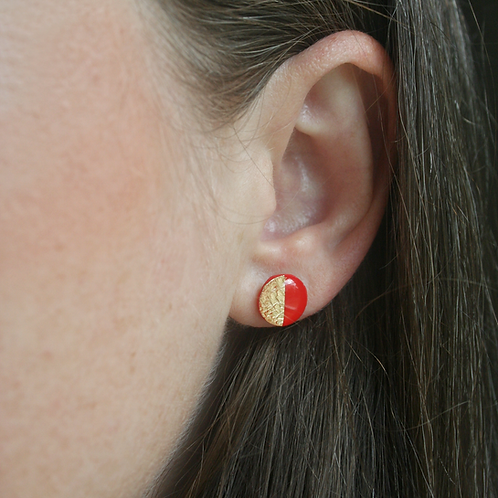 Red & Gold Circle Studs